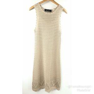 Blue Rain Crocheted boho midi dress lined S